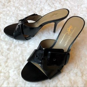 Donald J Pliner Elaine Black Leather Sandal Heel